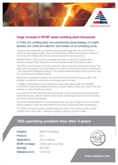 Case Study - Huge increase in MTBF saves smelting plant thousands