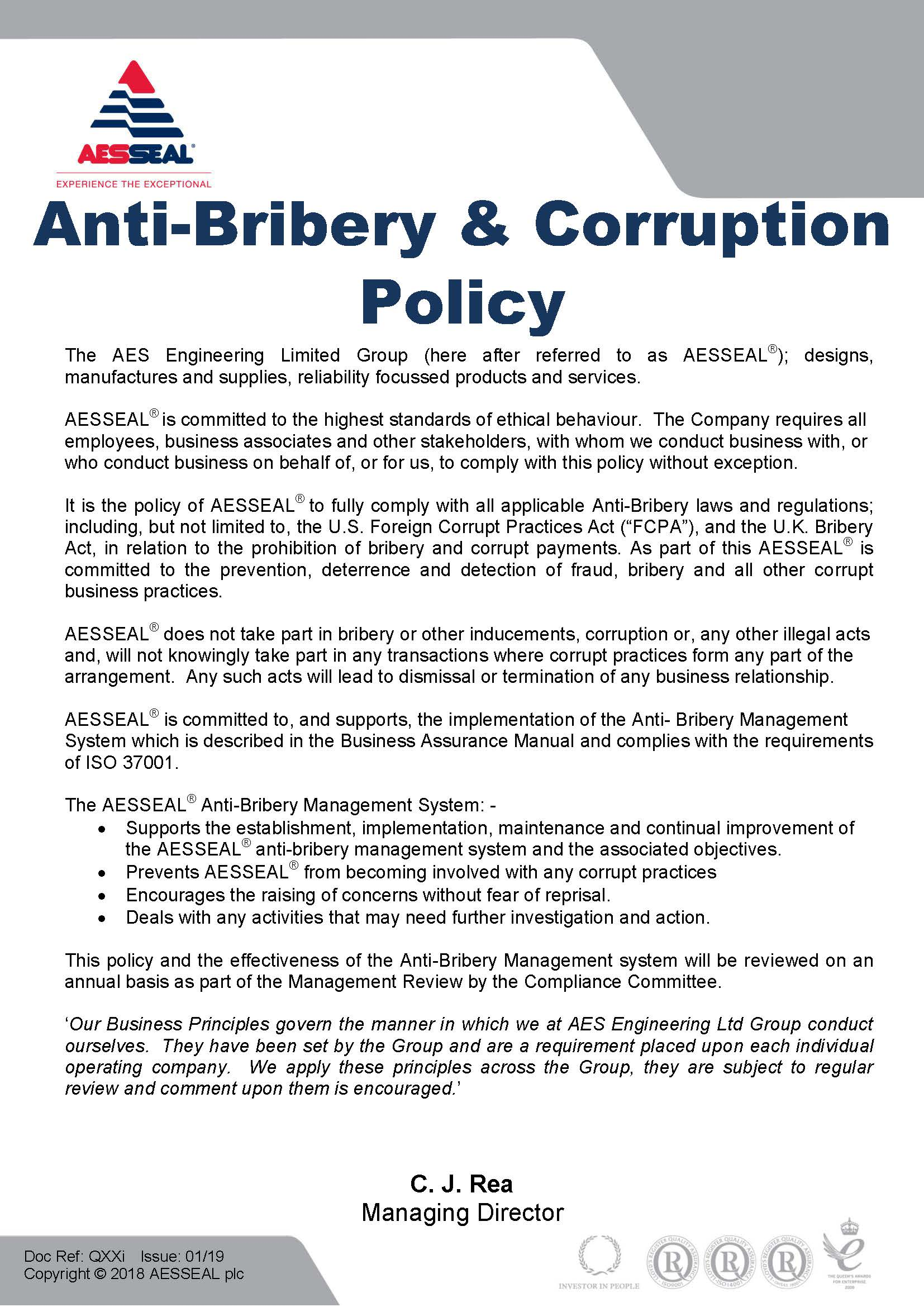 Anti-Bribery and Corruption Policy