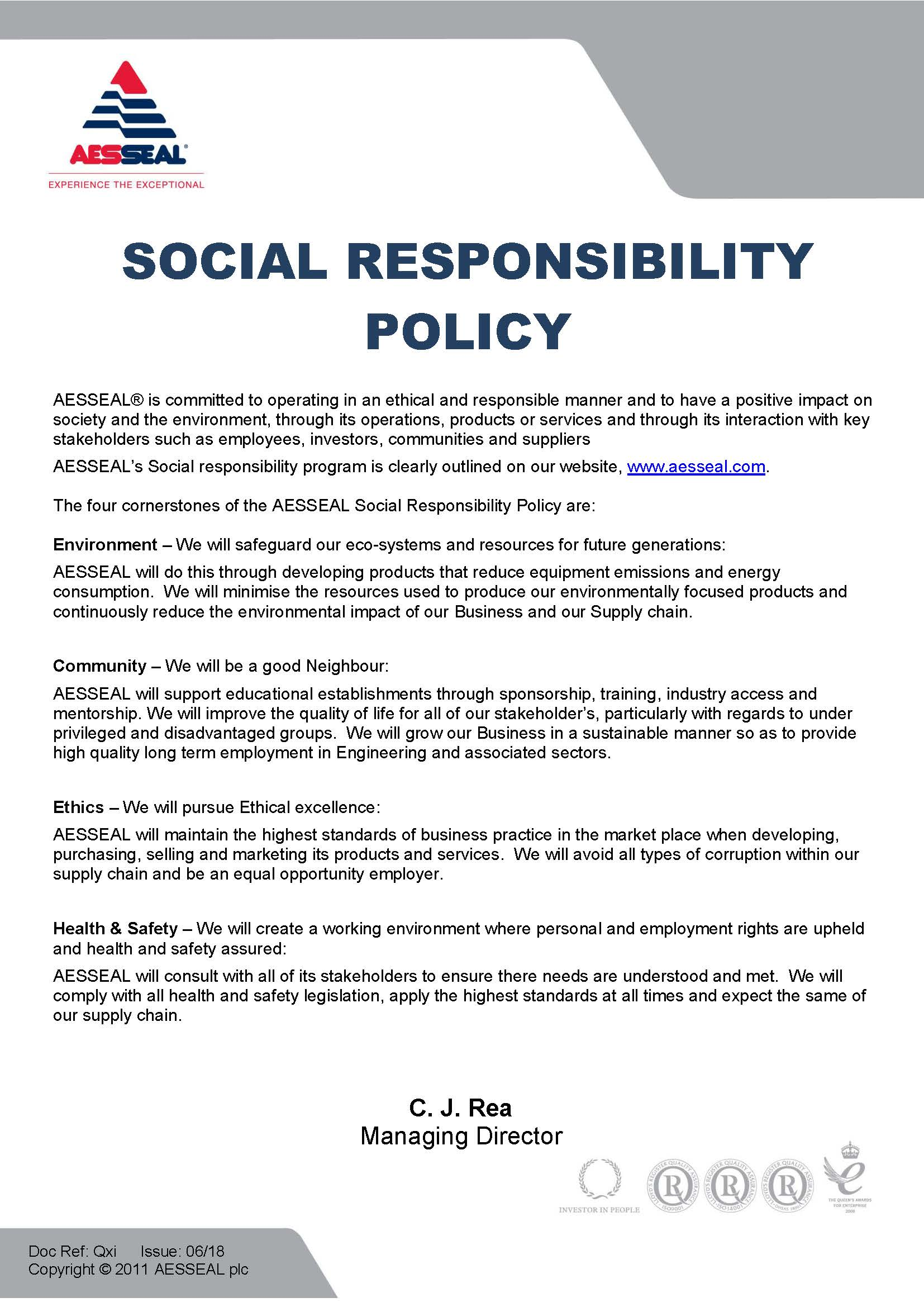 Social Responsibility Policy